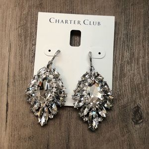 New Charter club crystal High drama earrings